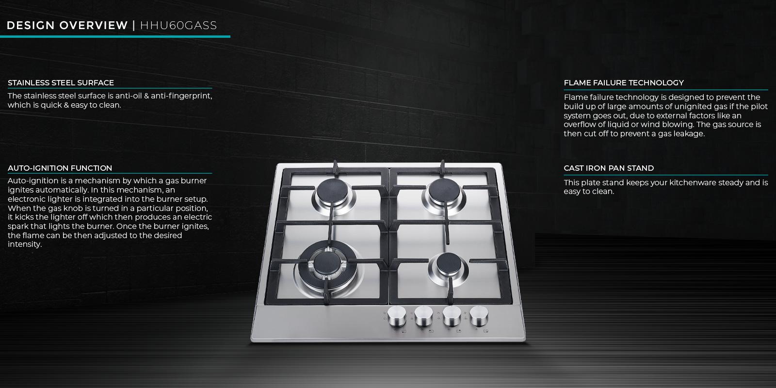 Hisense 600mm 4-Burner Gas Hob 3